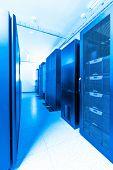 stock photo of racks  - network server room with racks - JPG