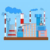 stock photo of chimney  - The factory in a flat style - JPG