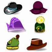foto of panama hat  - Set a variety of hats for women and men - JPG