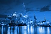 stock photo of  rig  - Oil Rig at night in Shipyard  - JPG