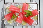image of popsicle  - Homemade rhubarb strawberry popsicles - JPG