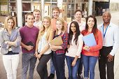 picture of tutor  - Group Portrait Of College Students With Tutor - JPG