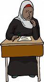 foto of struggle  - Young Muslim female student struggling with test at desk - JPG