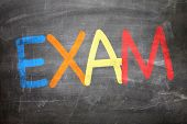 pic of exams  - Exam written on a chalkboard - JPG