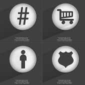 picture of hashtag  - Hashtag Shopping cart Silhouette Police badge icon sign - JPG