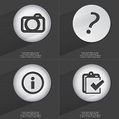 stock photo of tasks  - Camera Question mark Information Task completed icon sign - JPG