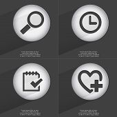 foto of tasks  - Magnifying glass Clock Task completed Heart with plus icon sign - JPG