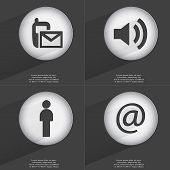 stock photo of sms  - SMS Sound Silhouette Mail icon sign - JPG