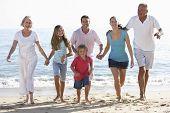 image of extended family  - Three Generation Family Having Fun On Beach - JPG