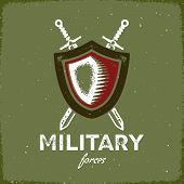 pic of crossed swords  - Vintage letterpress styled military label with shield and crossed swords - JPG