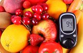 pic of immune  - Glucose meter with fresh ripe fruits and vegetables concept of diabetes healthy food nutrition and strengthening immunity - JPG