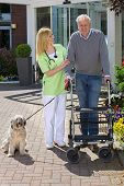 foto of dog-walker  - Smiling Blond Nurse Holding onto Arm of Senior Man Helping Man with Walker Walk Dog on Leash Outdoors in front of Retirement Building on Sunny Day - JPG