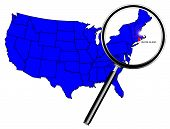 foto of united states map  - Rhode Island state outline set into a map of The United States of America below a magnifying glass - JPG