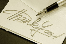 stock photo of thank you note  - thank you note and pen  - JPG