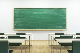 picture of classroom  - empty school classroom with blackboard - JPG