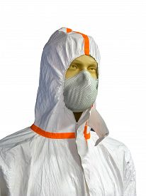 stock photo of respirator  - Male mannequin in protective clothing and respirator - JPG