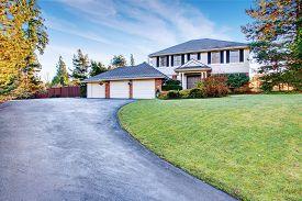 image of greenery  - Brock house with greenery and nice driveway - JPG
