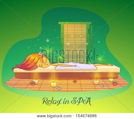 poster of Girl or woman relaxing or lying at spa salon or sauna. Beauty salon or parlor, cabinet with woman or girl sleeping. May be used for spa salon or beauty salon logo for young woman and girl