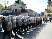 Riot Polish Police At Demonstration