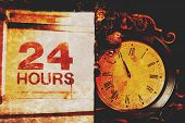 Grunge Montage Of Old Vintage Clock and 24 Hours Sign Photos