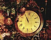 Vintage Clock Almost Midnight Grunge For New Year From Photograph