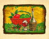 Wine Food Basket Still Life Painting By Me