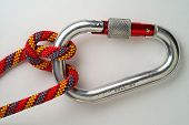 Mountaineering: Munter Or Italian  Hitch On Locking Or Safety Aluminium Carabiner