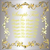 Vector Silver Plate With Gold Floral Border