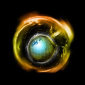 stock photo of outer core  - an illustration of the world inside a blackhole - JPG