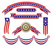 Vector version. American patriotic ribbons set for design and decorate. Jpeg version is also availab
