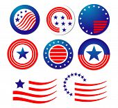 Jpeg version. American patriotic symbols set for design and decorate. Vector version is also available