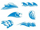 Set of wave symbols 6 for design. Jpeg version also available