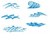 Set of wave symbols for design isolated on white. Vector version also available