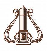 Постер, плакат: Музыкальные арфы изолированные на белом для дизайна Также доступна версия вектор