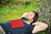 Education in nature, sleepy man under the tree with the book on his chest