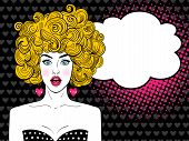 Wow Pop Art Female Face. Sexy Surprised Woman With Open Mouth, Blonde Curly Hair And Speech Bubble. poster