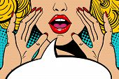 Sexy Surprised Blonde Pop Art Woman With Open Mouth And Rising Hands Screaming Announcement. Vector poster