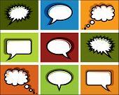 colored speech bubbles in pop art design
