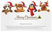 picture of merry christmas  - Merry Christmas banner with animals - JPG