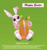 Rabbit holding Easter egg