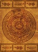 Maya calendar on ancient parchment