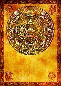 Maya-Kalender auf alten Mauer