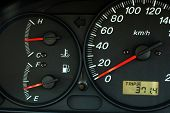 Car Dashboard With Speed, Temperature And Fuel