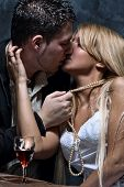 stock photo of love couple  - young couple in love kissing - JPG