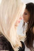 two girls brunette is blurred