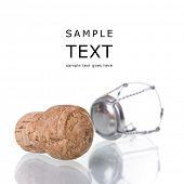 corcho Champagne aislado en blanco con reflexión (enfoque selectivo)
