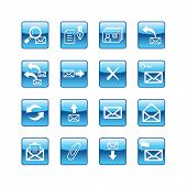 blue aqua e-mail icons (raster)