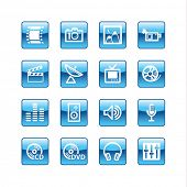 blue aqua media icons (raster)