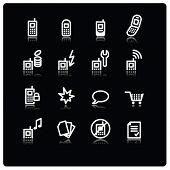 witte mobiele telefoon pictogrammen