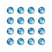 ícones de medicina gota azul